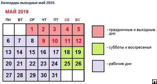 Как мы отдыхаем на майские праздники с 1 по 12 мая 2019 и когда работаем?